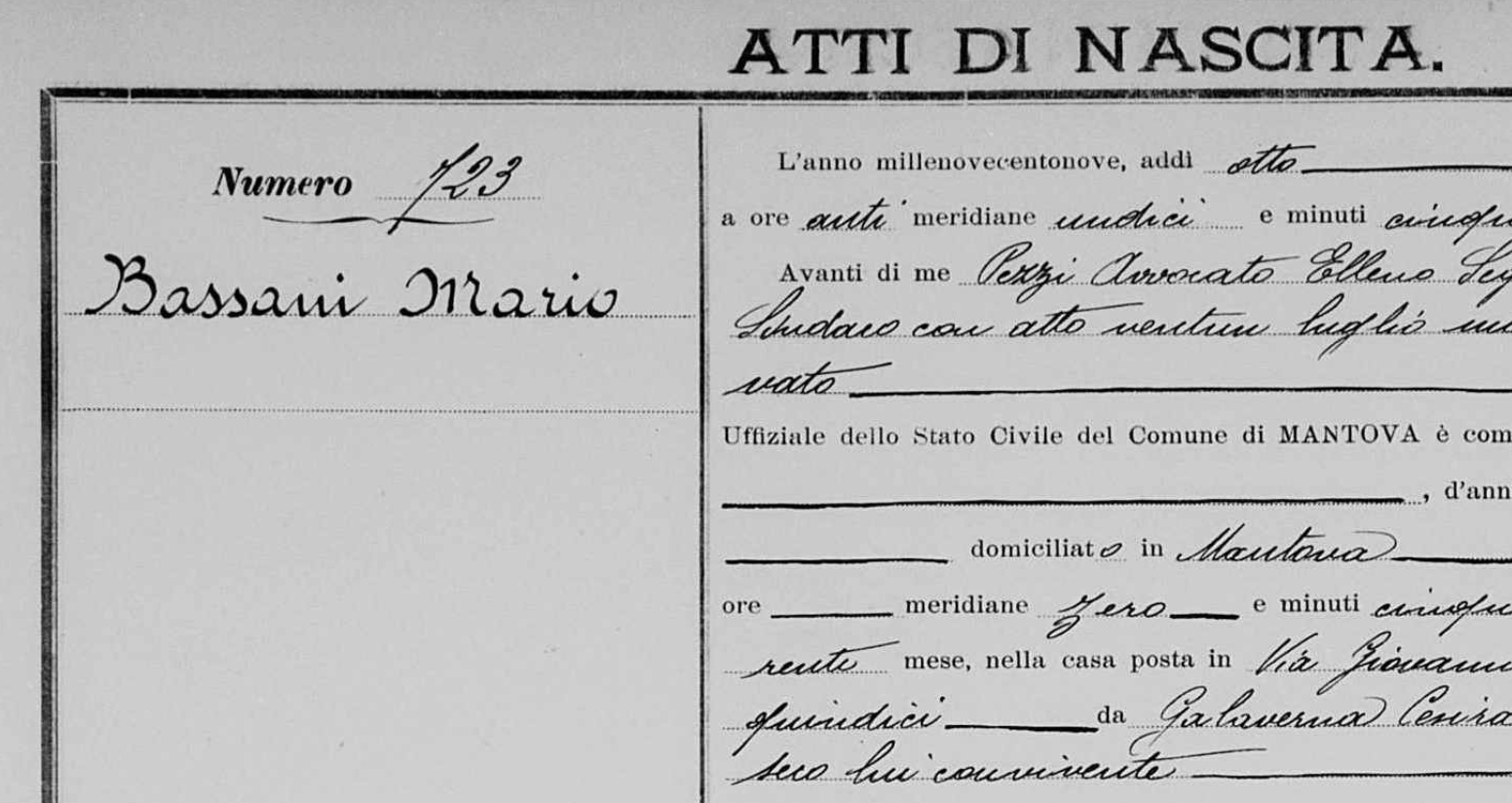 registro de nascimento italiano