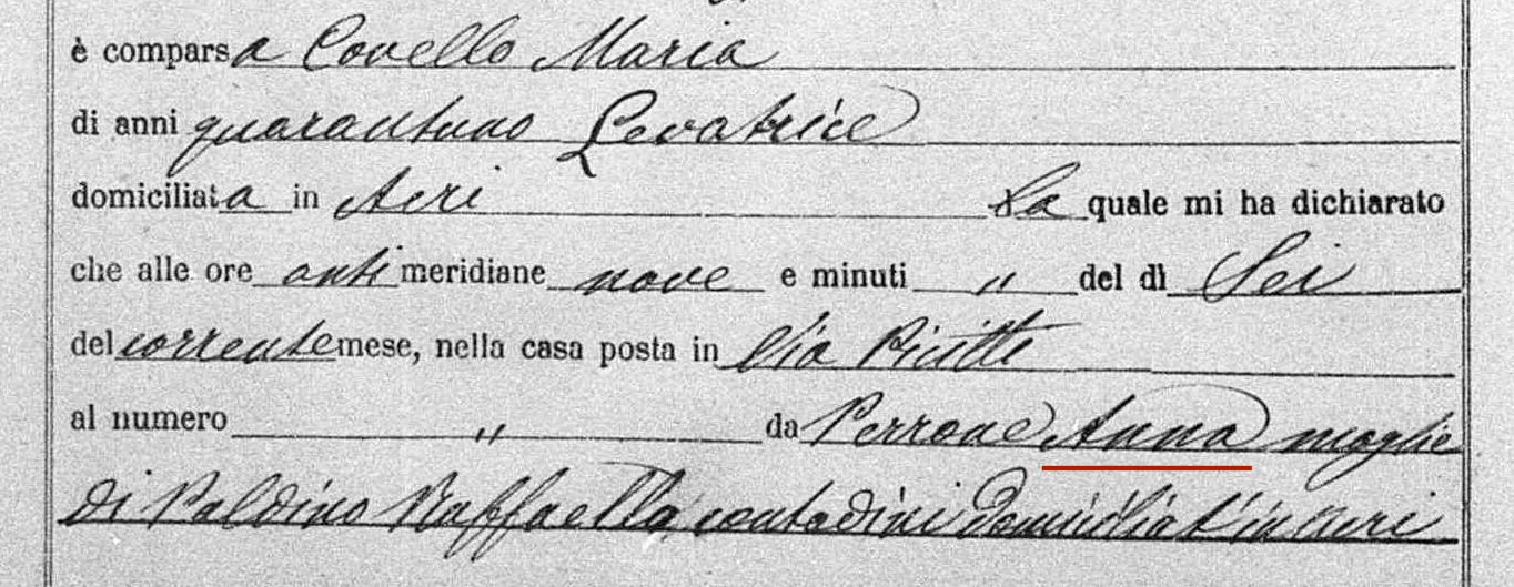 dados de uma certidão italiana